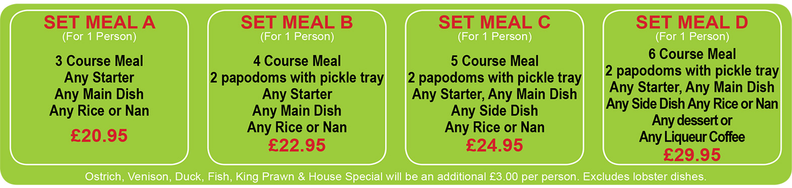 Set Meals at Tandoori Night